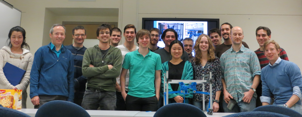 The staff and students of the Laval University Robotics Laboratory, as present during Teun's final presentation on 19 December 2014.